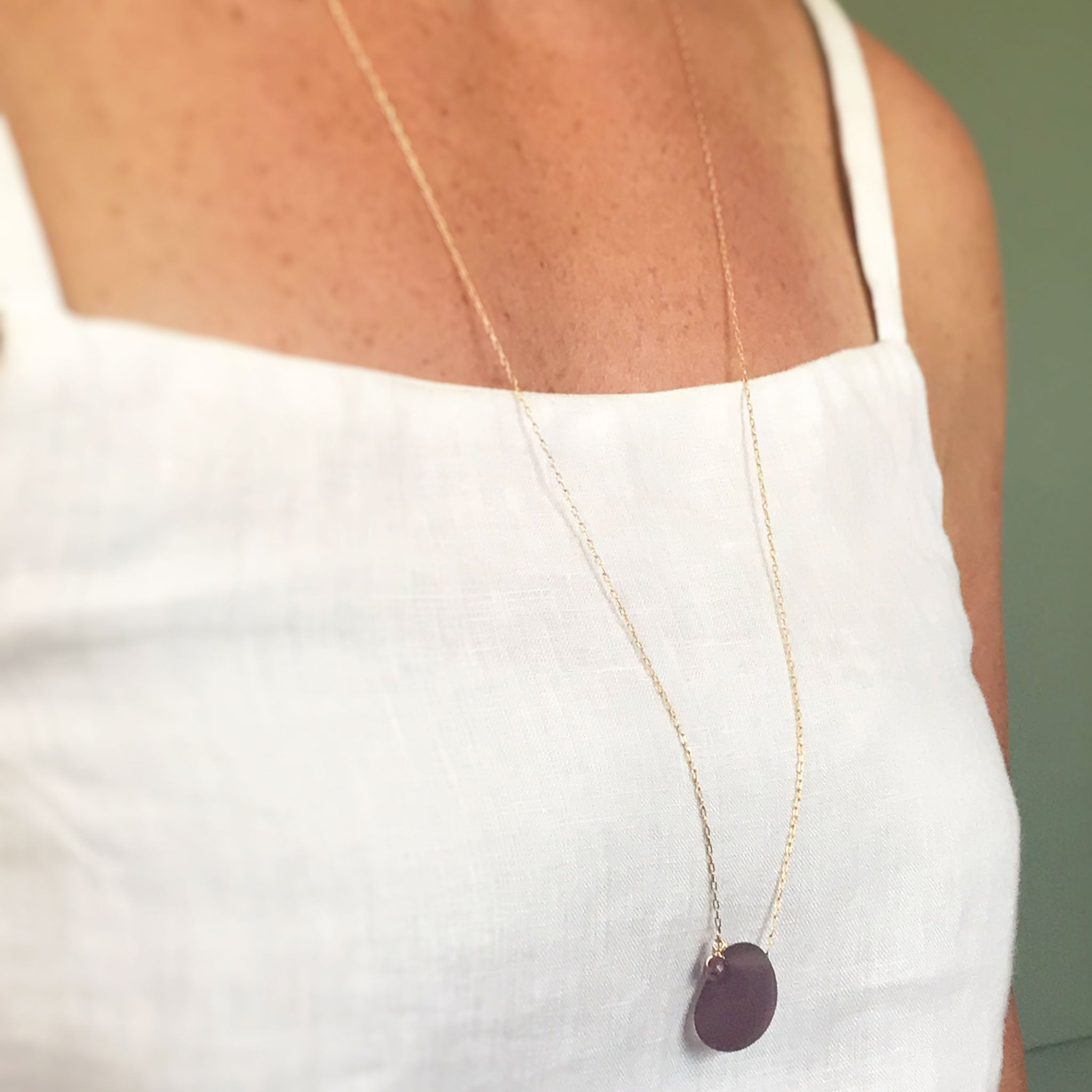wine coloured seaglass necklace on gold chain kriket Broadhurst jewellery