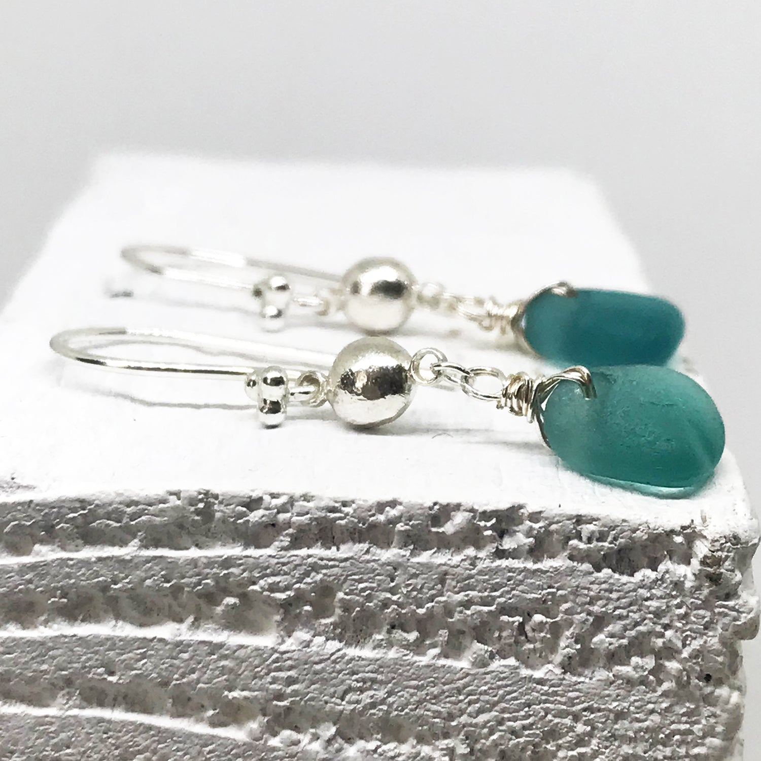 Teal Green Seaglass Silver Chandelier Earrings - kriket-broadhurst