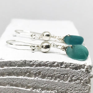 Teal Green Seaglass Silver Chandelier Earrings