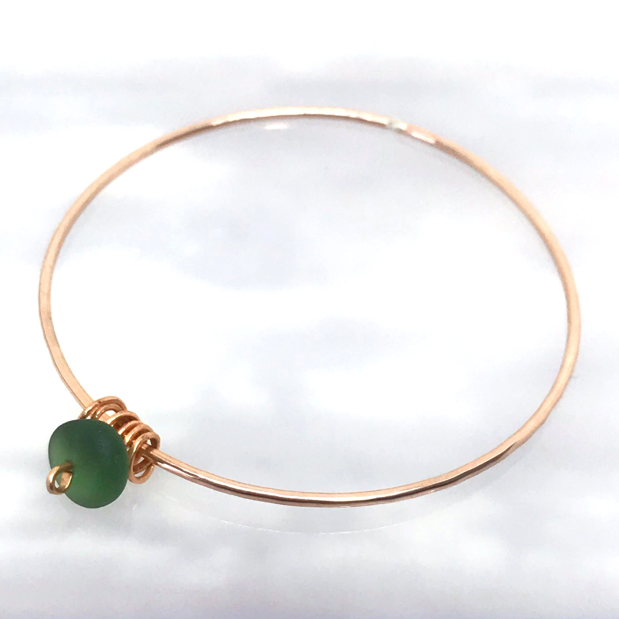Rose gold & Olive Green Antique Seaglass Bangle - kriket-broadhurst