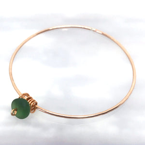 Rose gold & Olive Green Antique Seaglass Bangle