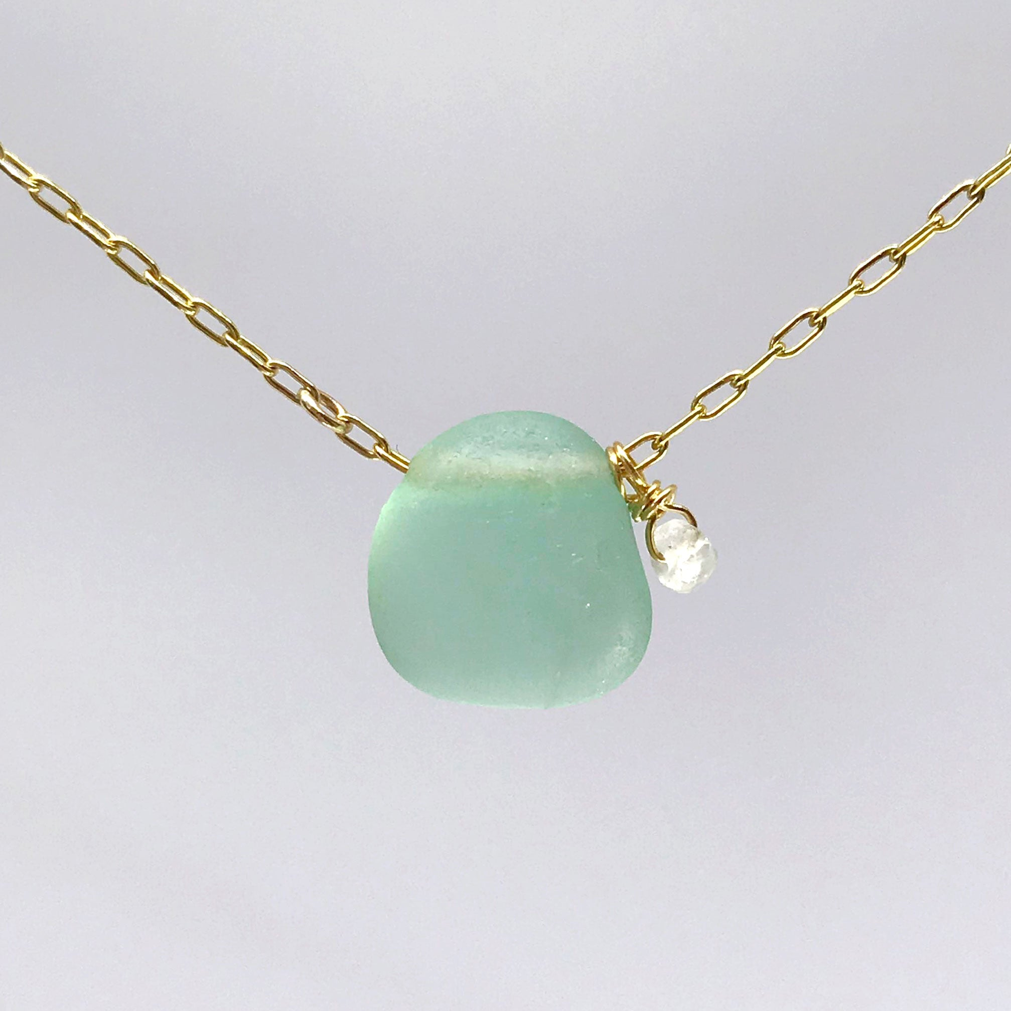 Aqua Seaglass Necklace on Short Gold chain - kriket-broadhurst artisan jewellery