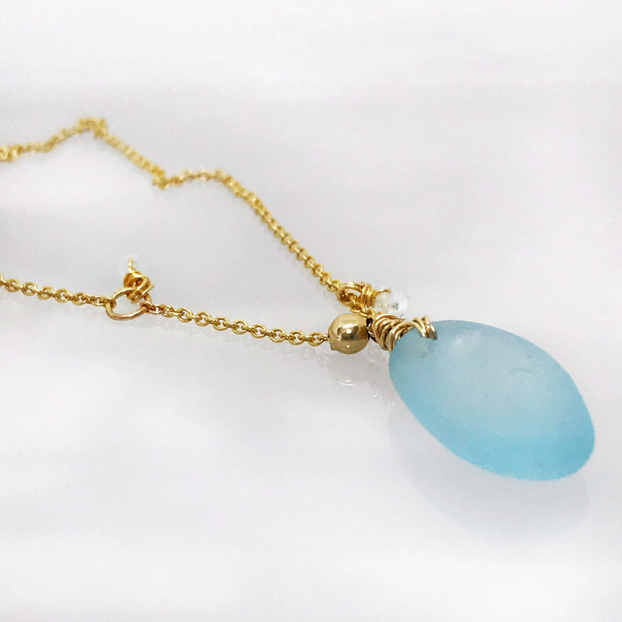 Pale Blue Seaglass Necklace - Gold - kriket-broadhurst