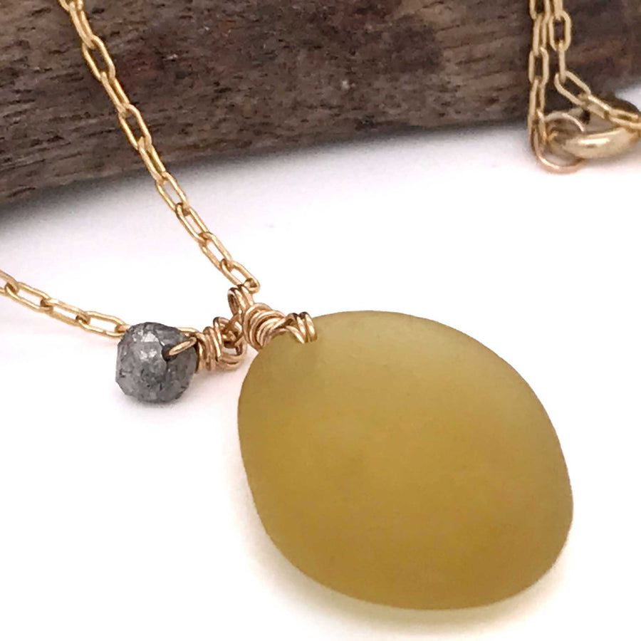 yellow sea glass pendant with rough cut diamond gold chain kriket broadhurst jewellery shop near me