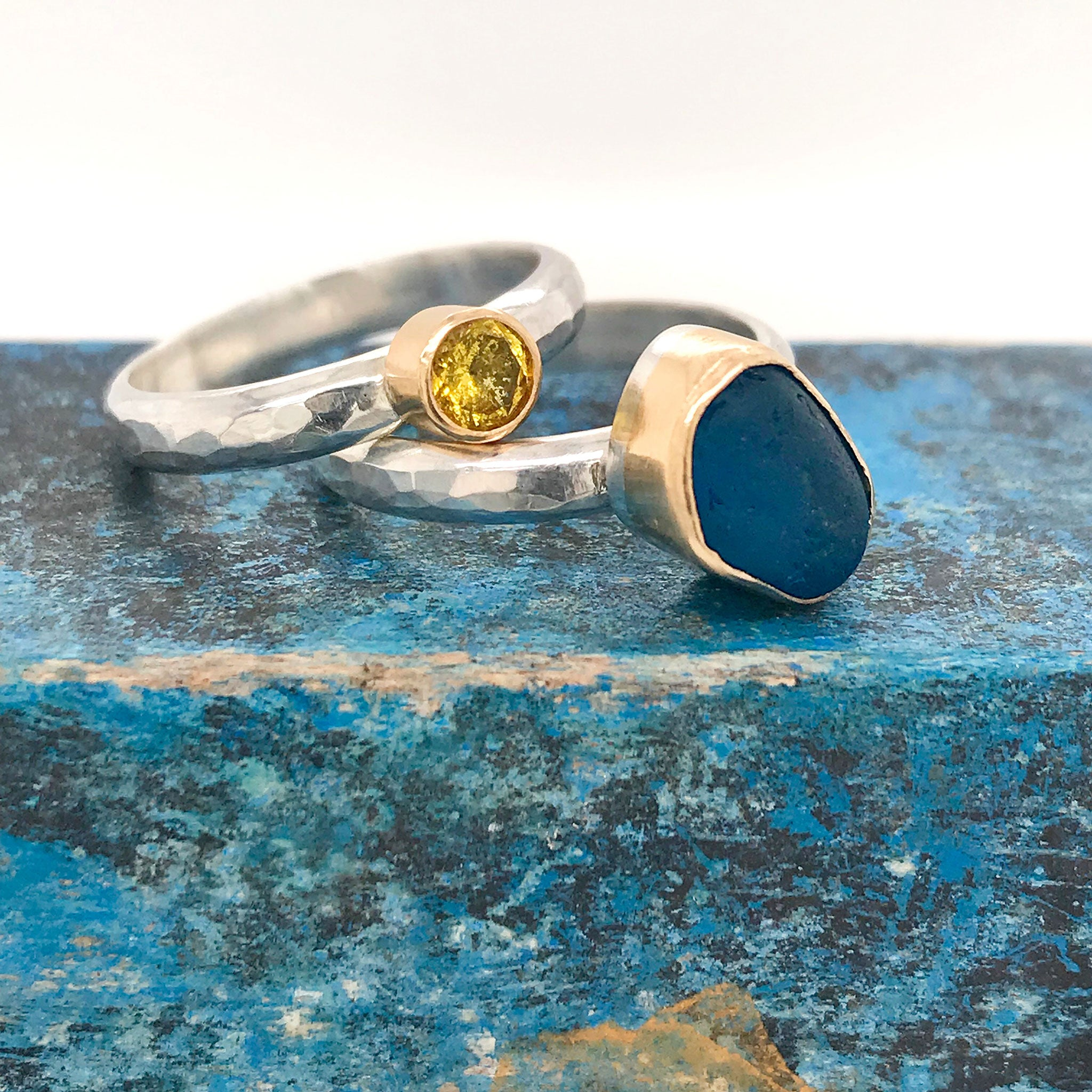 blue seaglass ring and yellow sapphire ring kriket broadhurst jewellery