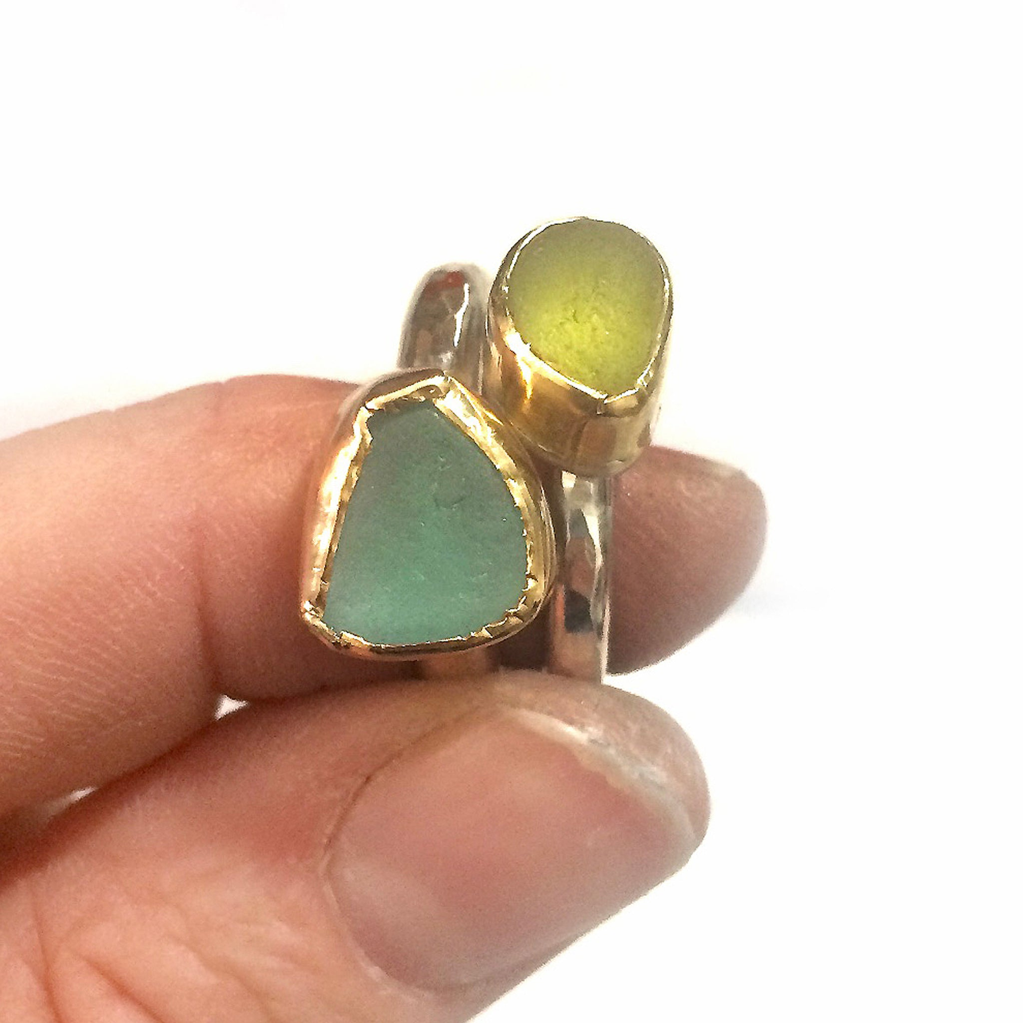 yellow seaglass ring