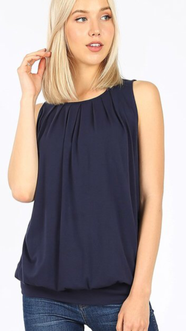 Round Neck Gathered Top (8 Colors)