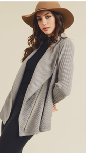 Ribbed Shawl Collar Jacket