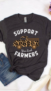 Leopard Support Farmers T-shirt