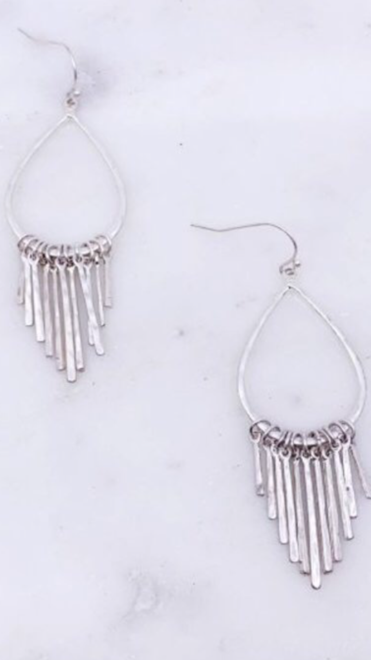 Teardrop Dangle Earrings (Silver or Gold)