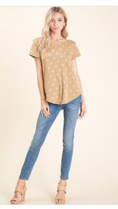 Dijon and Heather Gray Polka Dot Top