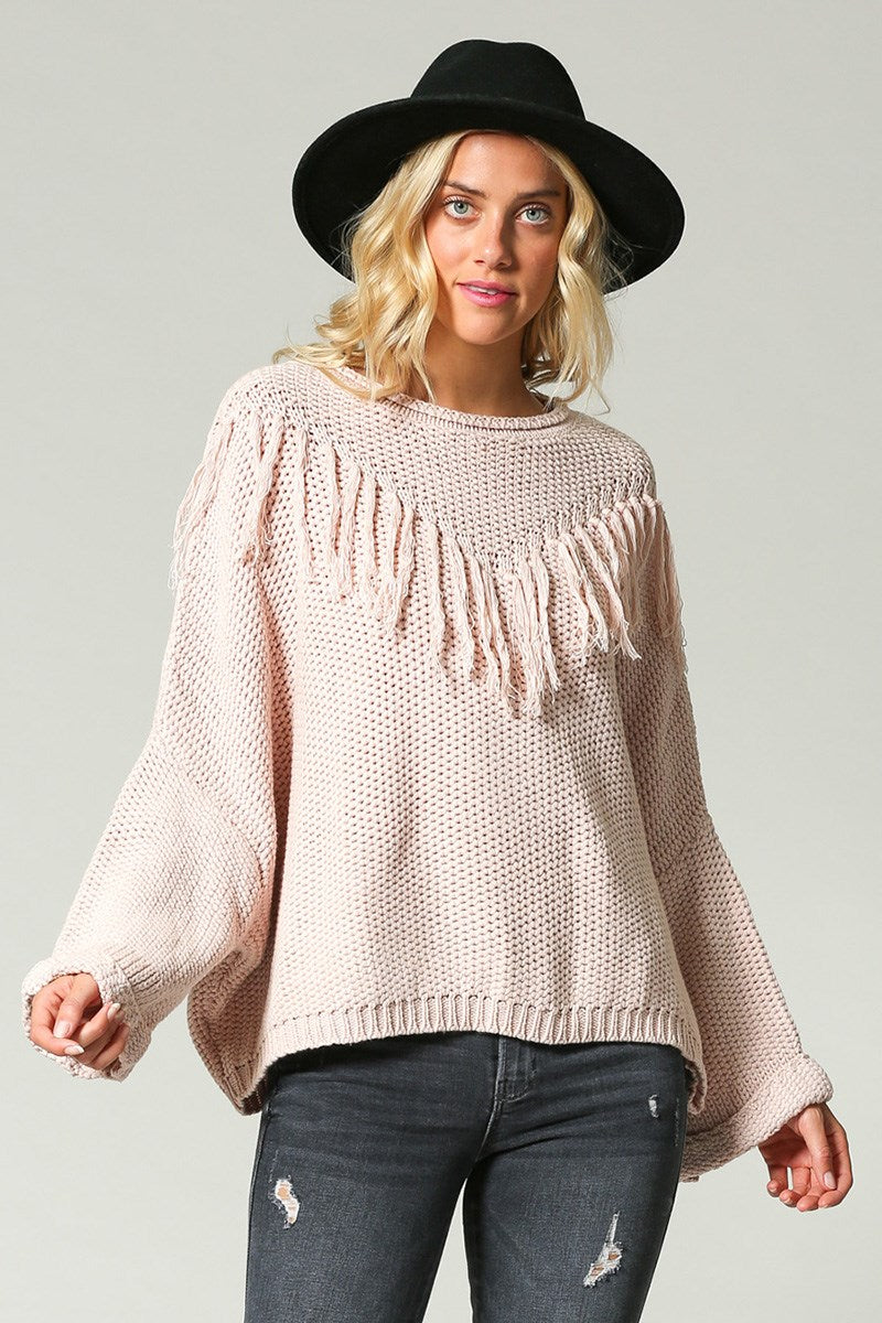 Pink Fringe Sweater