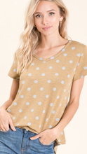 Load image into Gallery viewer, Dijon and Heather Gray Polka Dot Top