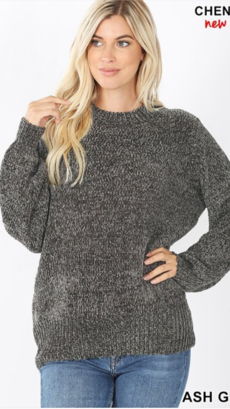 Gray Chenille Sweater