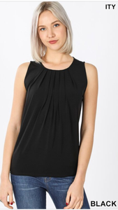 Sleeveless Front Pleat Neck Top