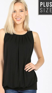 Plus Gathered Neck Top