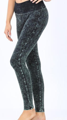 Mineral Washed Fold Over Yoga Leggings