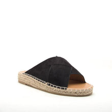 Load image into Gallery viewer, Black Suede Slides