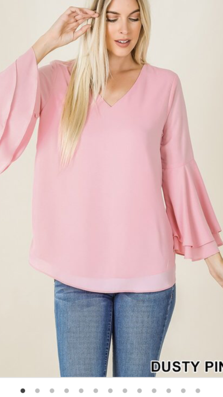 Dusty Pink Bell 3/4 Sleeve Top