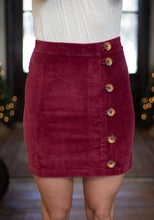 Load image into Gallery viewer, Burgundy Button-Down Skirt