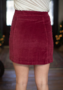 Burgundy Button-Down Skirt