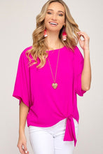 Load image into Gallery viewer, Magenta Kimono Sleeve Blouse