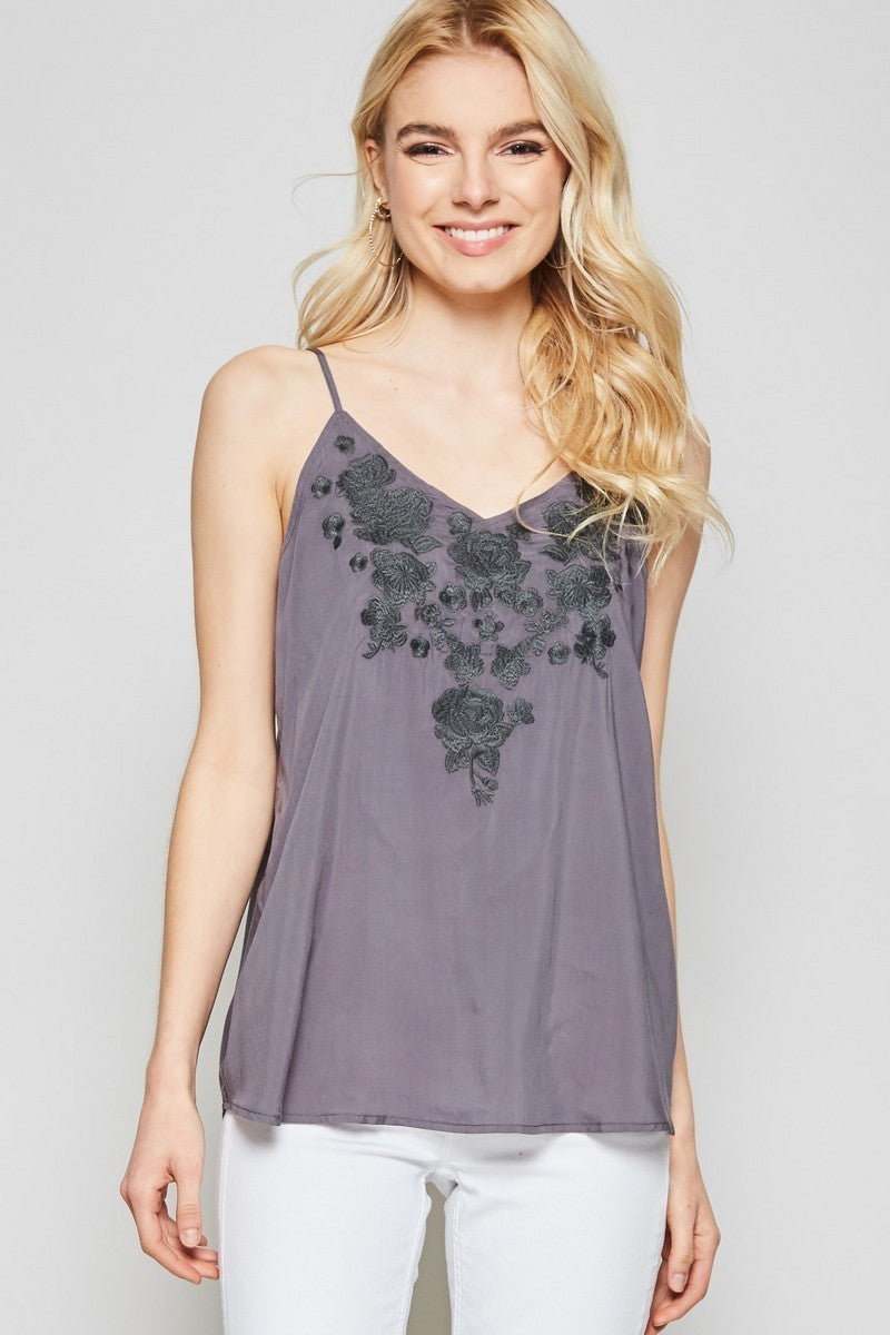 Embroidered Floral Tank