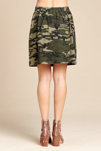 Camo Cinch Waist Skirt (2 Colors)