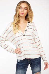 White & Burnt Orange Striped Top