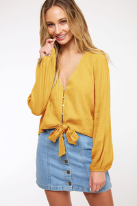 Mustard Tie-Front Blouse