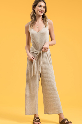 Ribbed Tie-Front Jumpsuit
