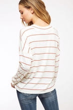 Load image into Gallery viewer, White & Burnt Orange Striped Top