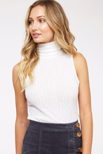 Load image into Gallery viewer, White Turtle-Neck Tank