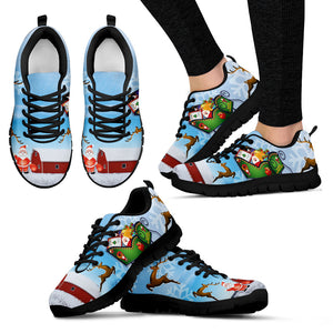 Santa Clause & Reindeers Women's Sneakers - Black