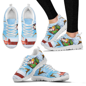 Santa Clause & Reindeer Women's Sneakers - White
