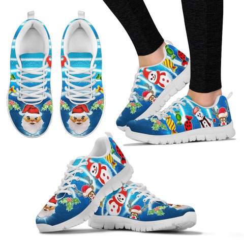 Santa Snowman Women's Sneakers - White
