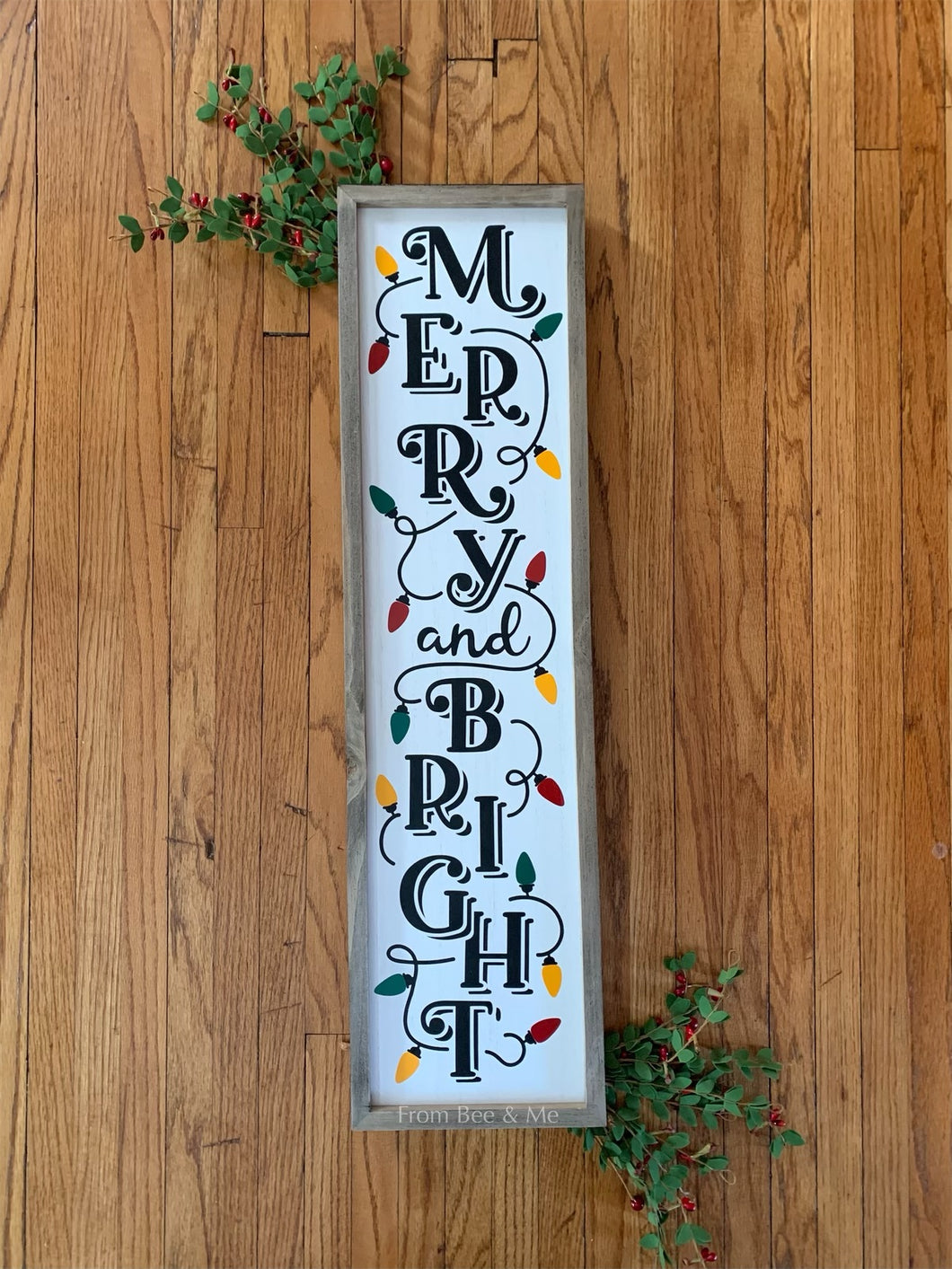 Merry and Bright Wood Hanging Sign
