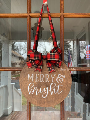 Merry and Bright Door Hanger Sign