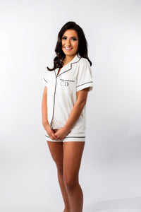 White Embroidered Cotton Pyjama Set