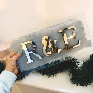 Mirrored Initials Acrylic Sign