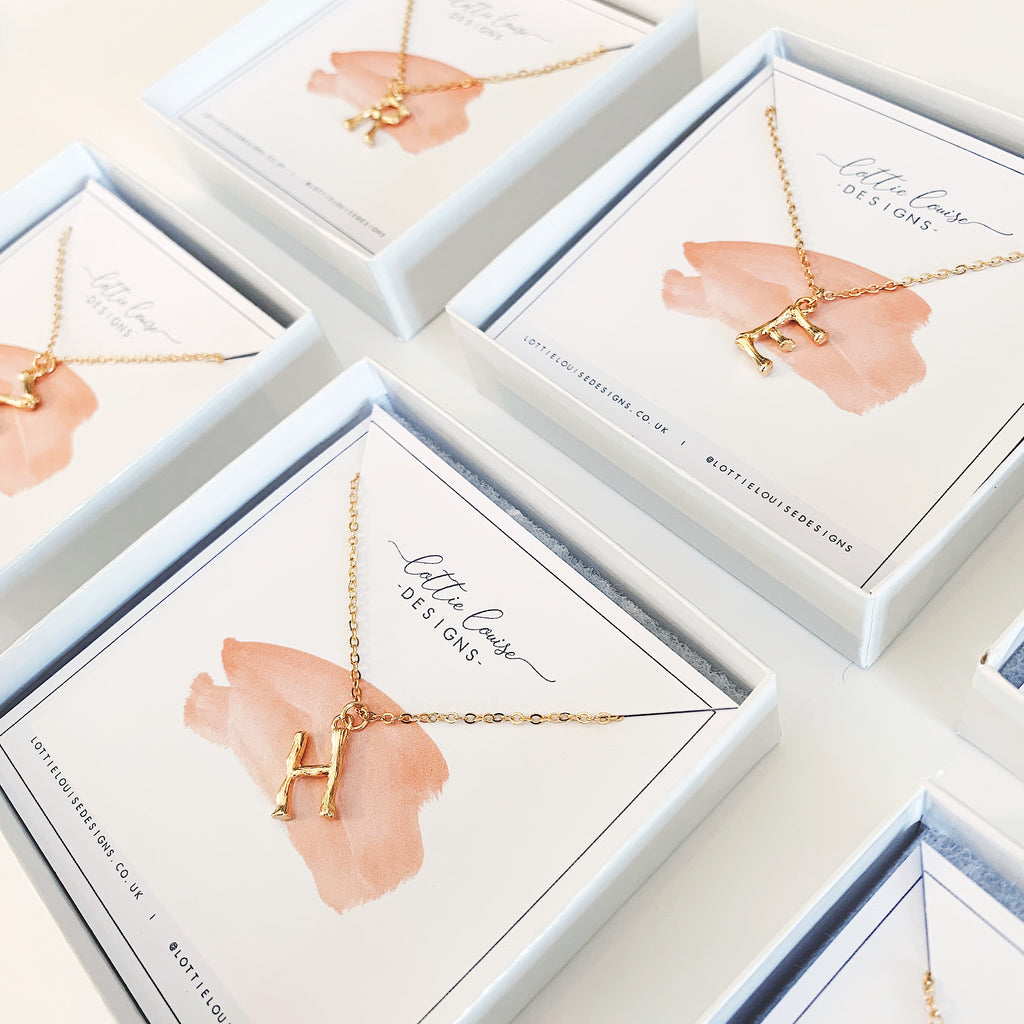 Hanging Initial Gold Necklaces