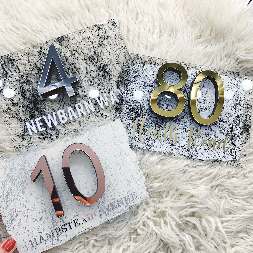 Marble Effect Range - House 3D Number Acrylic Sign