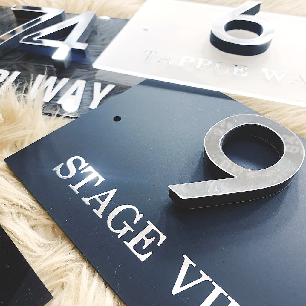 Coloured Acrylic Range - House 3D Number Sign