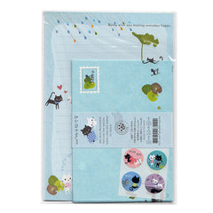 Cute Black Cat - Letter Writing Set - Paper & Envelopes! (Blue)