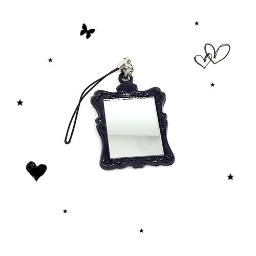 Black Rose Petit Mirror Phone / Zipper charm!