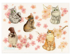 Cherry Blossoms & Cats Sticker Sheet