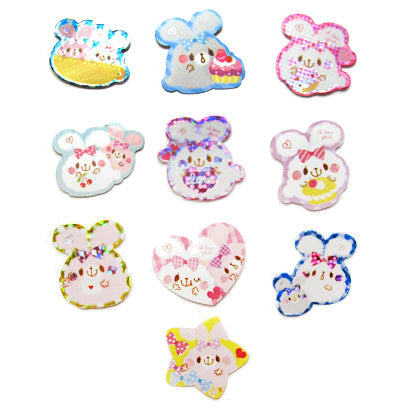 Sticker flakes - #019 - set of 10 I Love You Bunnies!