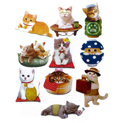 Sticker flakes - #035 - set of 10 Clever Cats