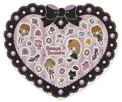 Miki - Cute Heart Sheet of Stickers! (black)