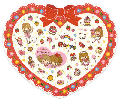 Miki - Cute Heart Sheet of Stickers! (red)